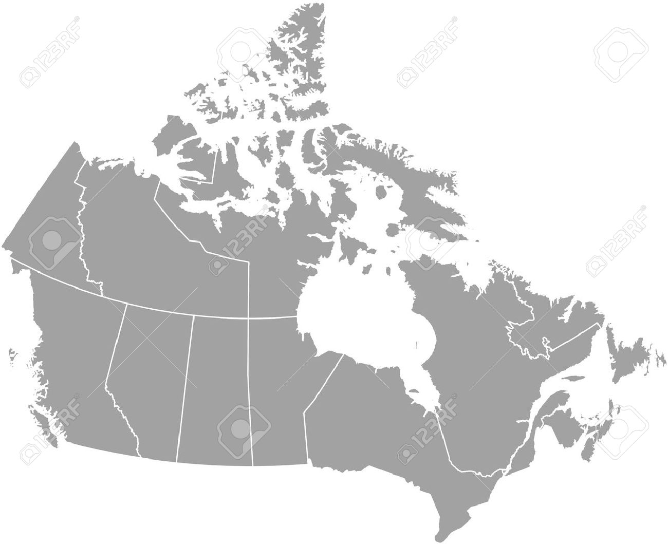 Canada map outline with borders of provinces or states - 50920420