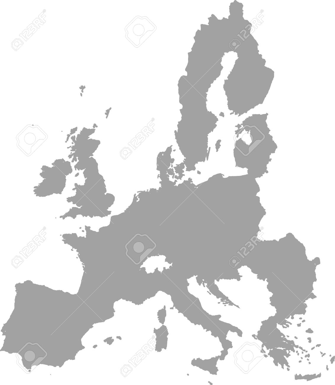 European Union Map Outline Vector In Gray Color Royalty Free