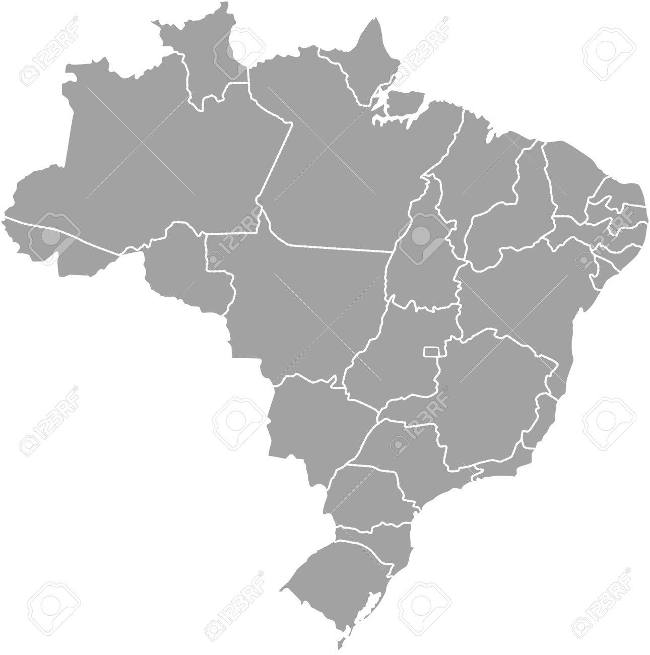 Brazil Map Outline With Borders Of Provinces Or States Royalty Free