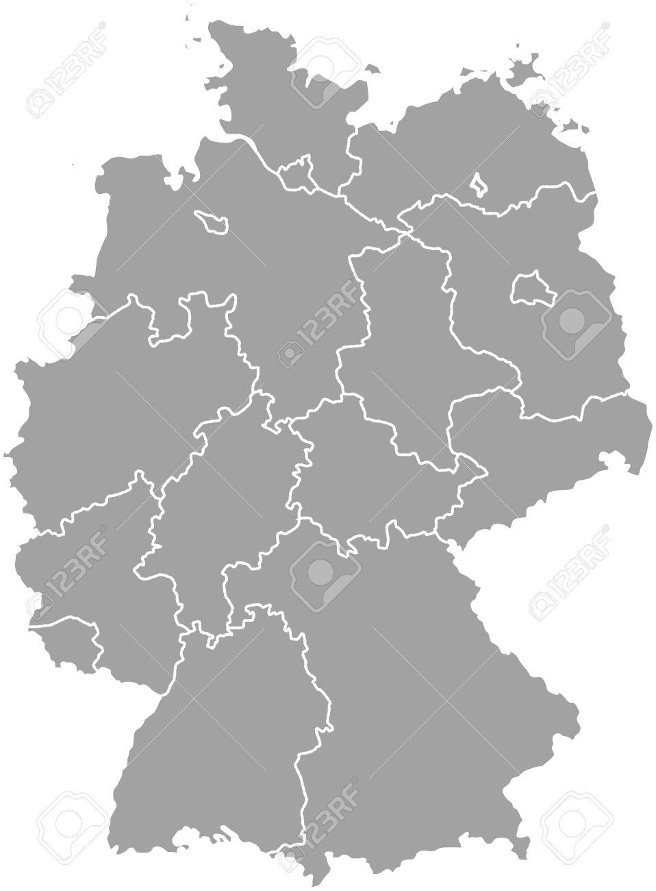 Germany Map With States.Germany Map Outline With Borders Of Provinces Or States Royalty Free