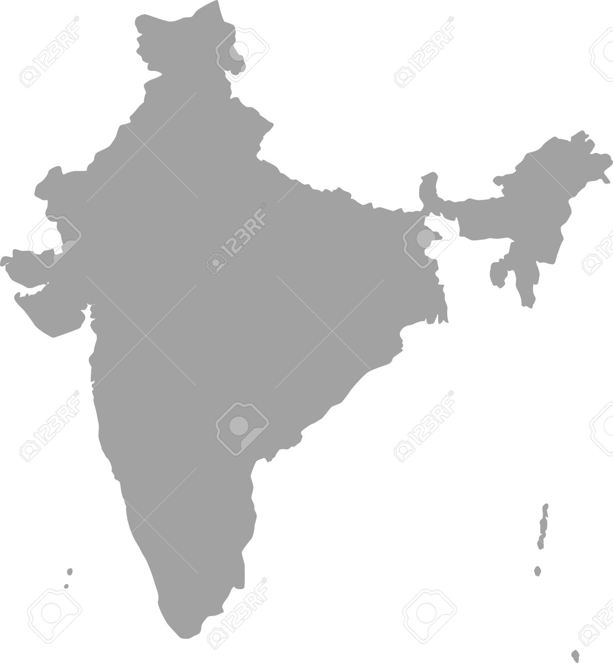 India Map Outline Vector In Gray Color Stock Vector   51018435