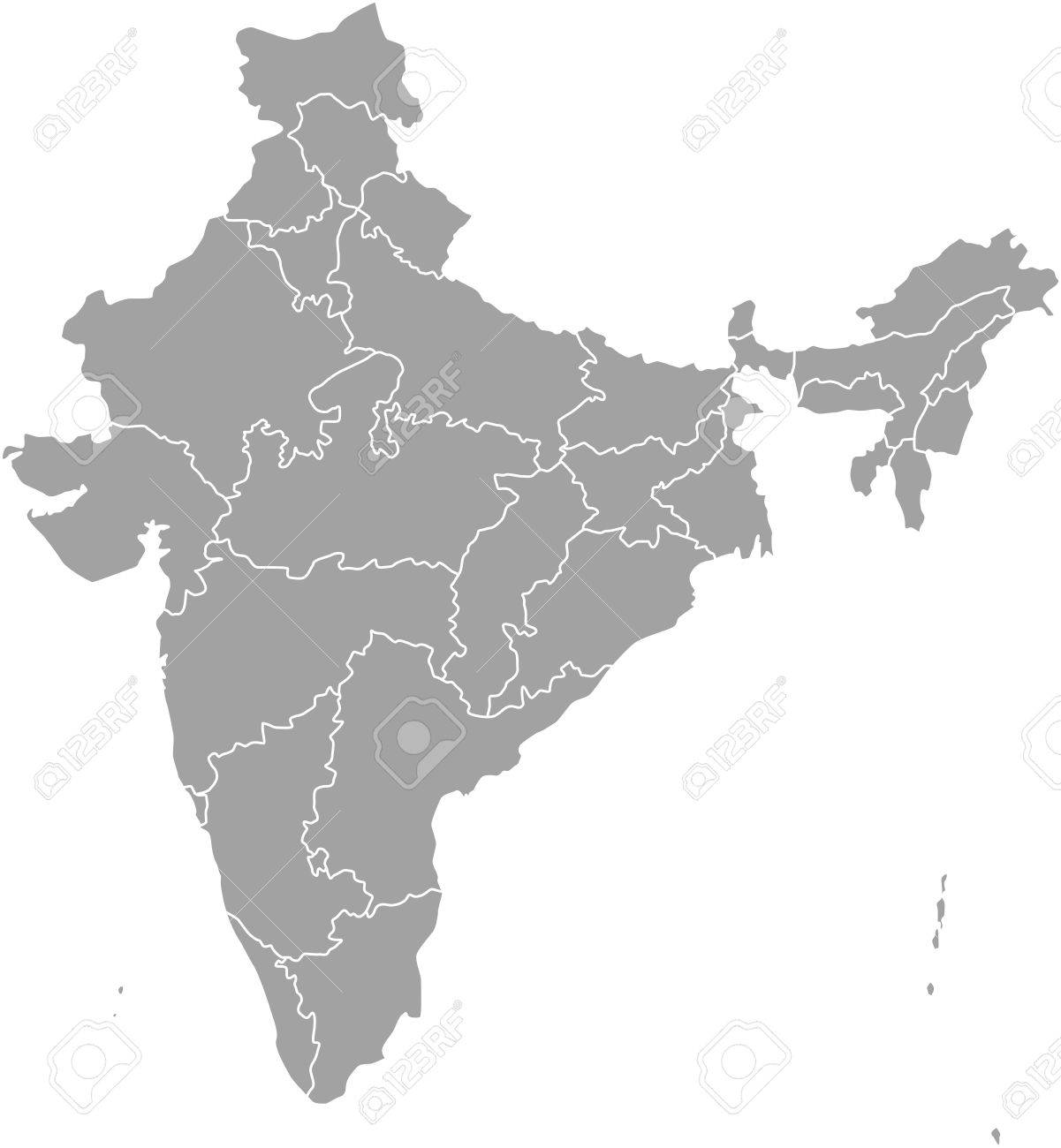 India Map Outline With Borders Of Provinces Or States Royalty Free