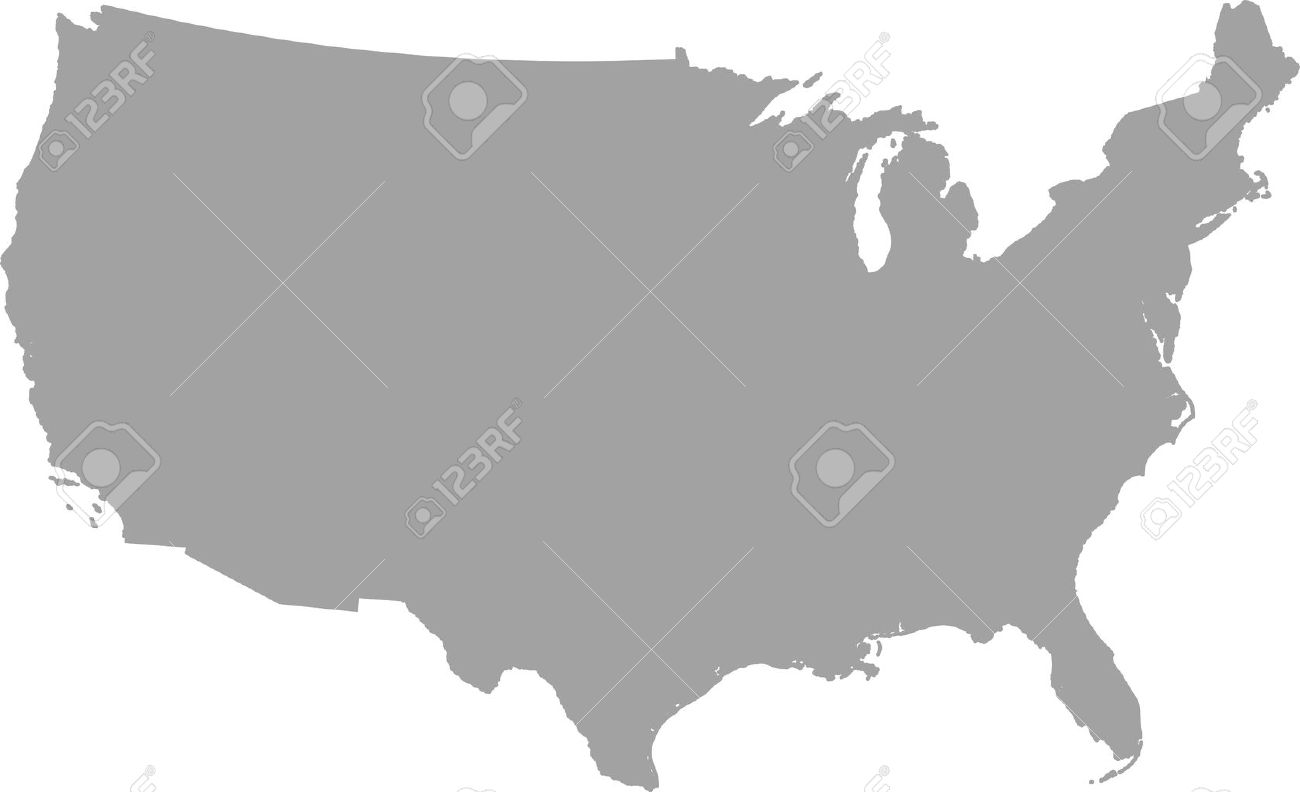 United States Map Outline Vector In Gray Color Royalty Free - How to color the united states map