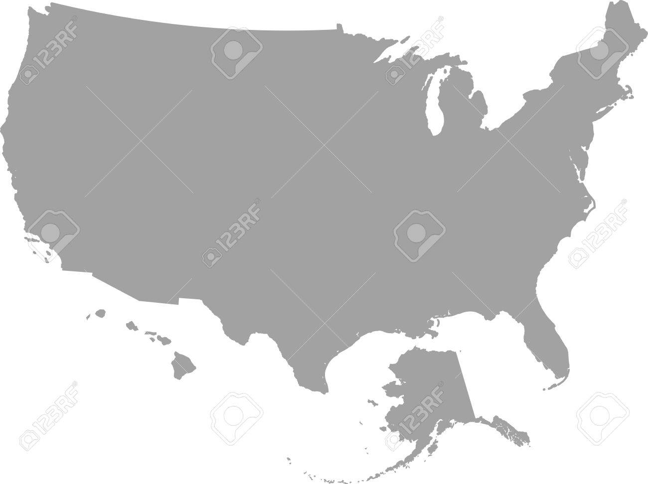 A Chunky Cartoon Map Of The USA Including Alaska And Hawaii Free - Map of us vector