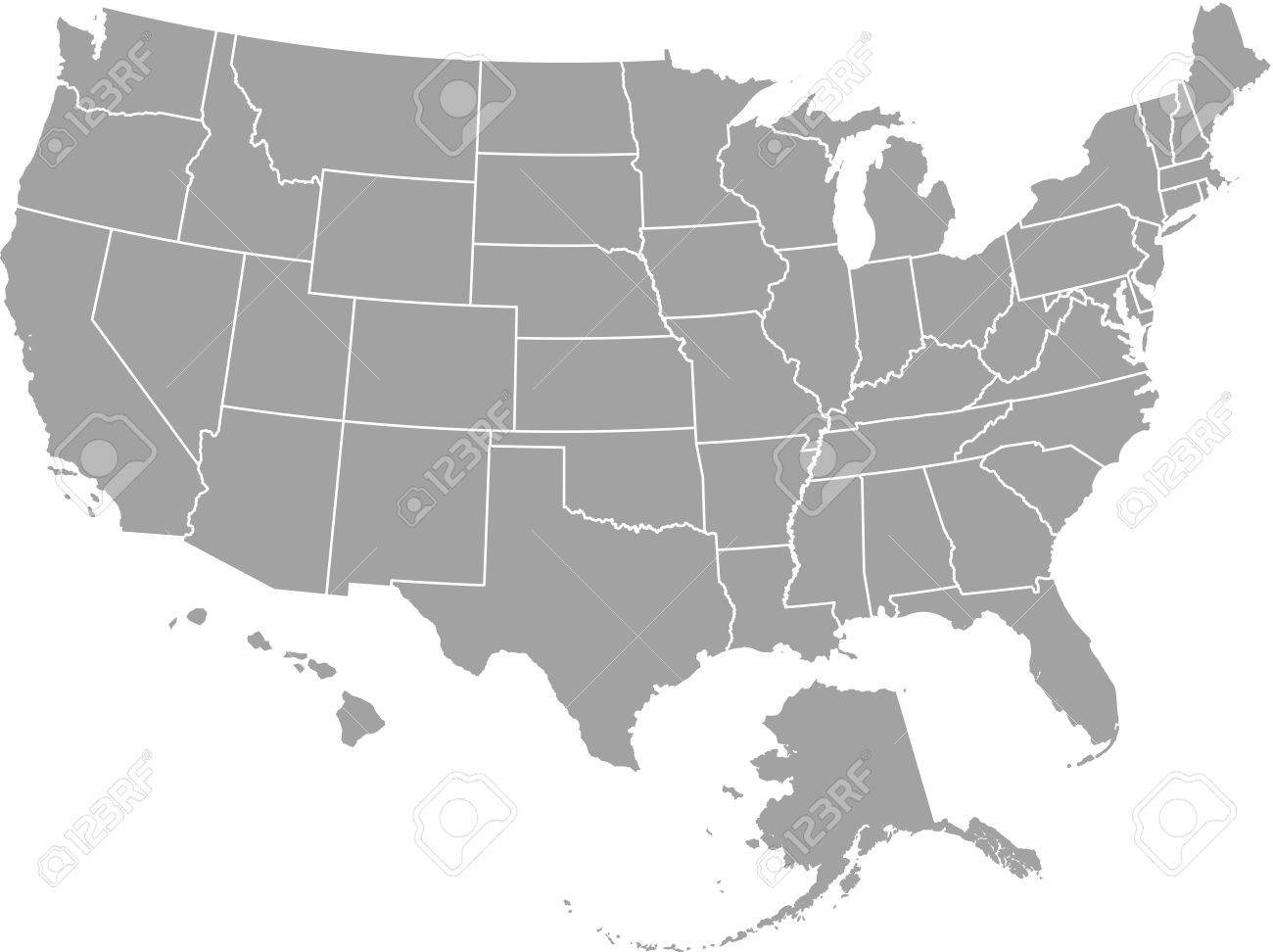 United States map outline vector with borders of provinces or..