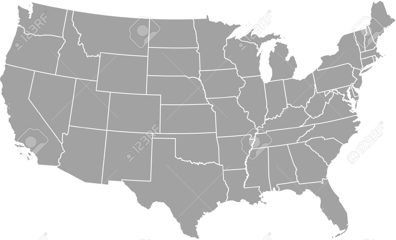 United states map outline vector with borders of provinces or states - 51018446