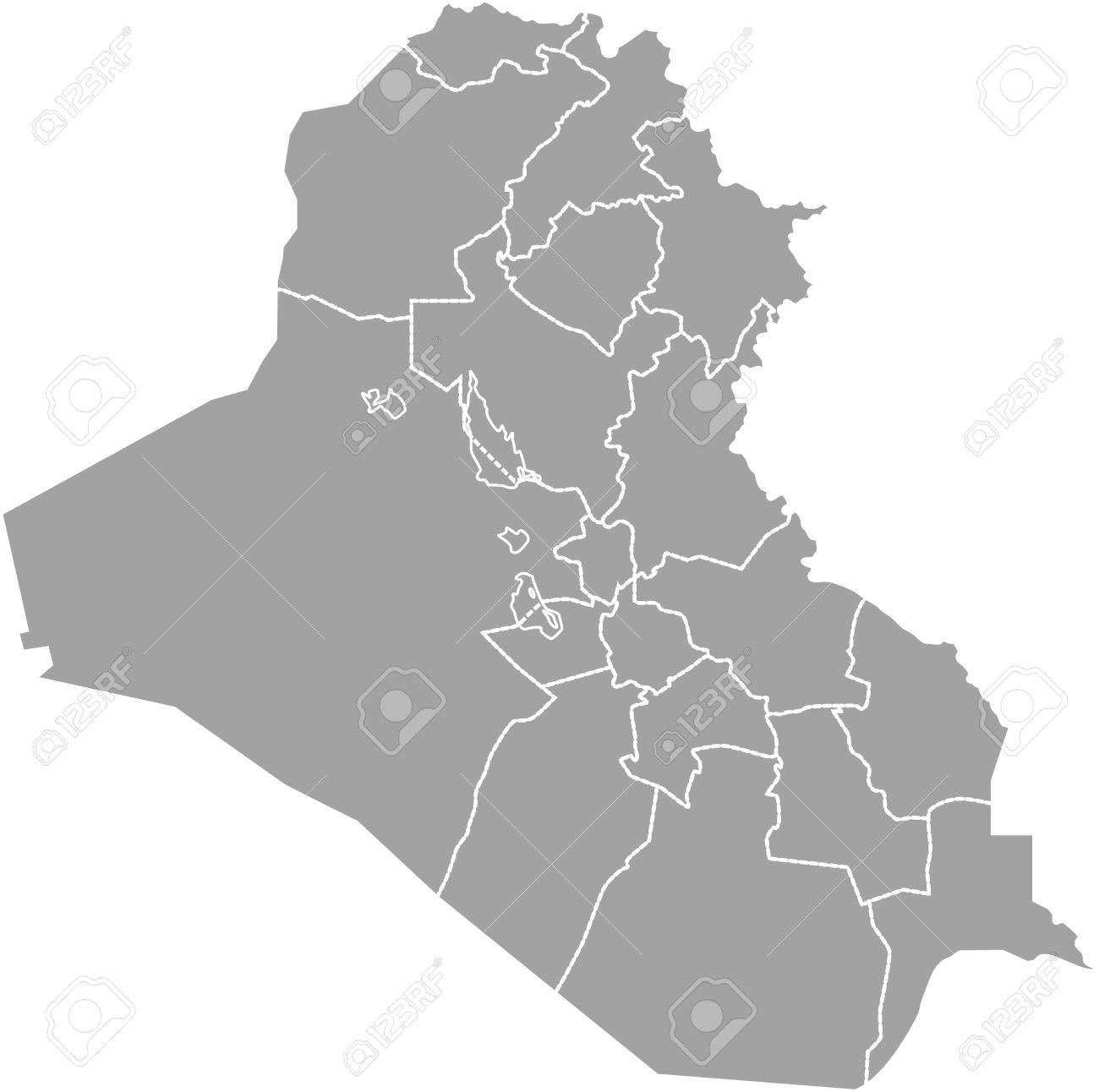 Iraq map outline vector with borders of provinces or states
