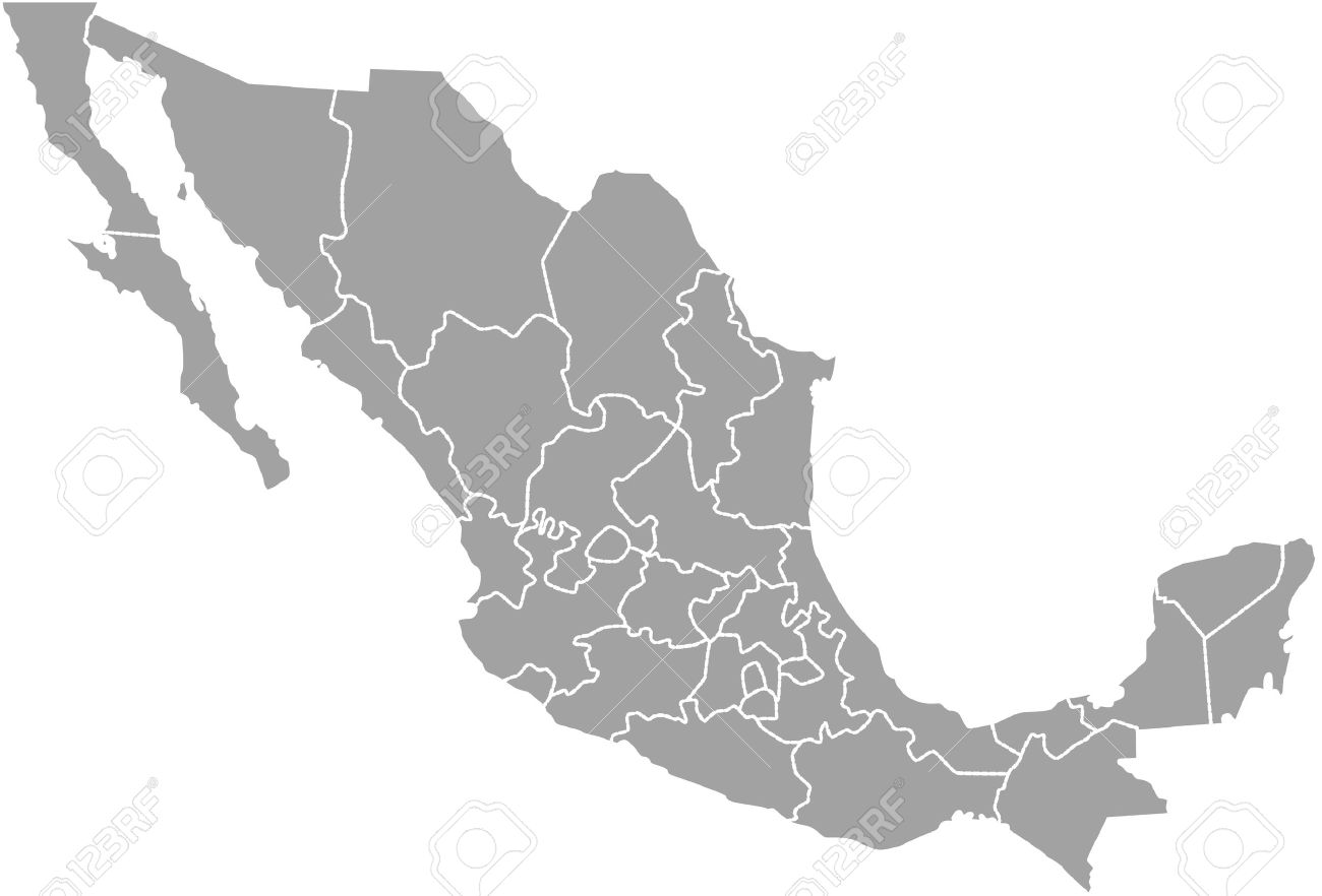 Mexico Map Outline Vector With Borders Of Provinces Or States ...