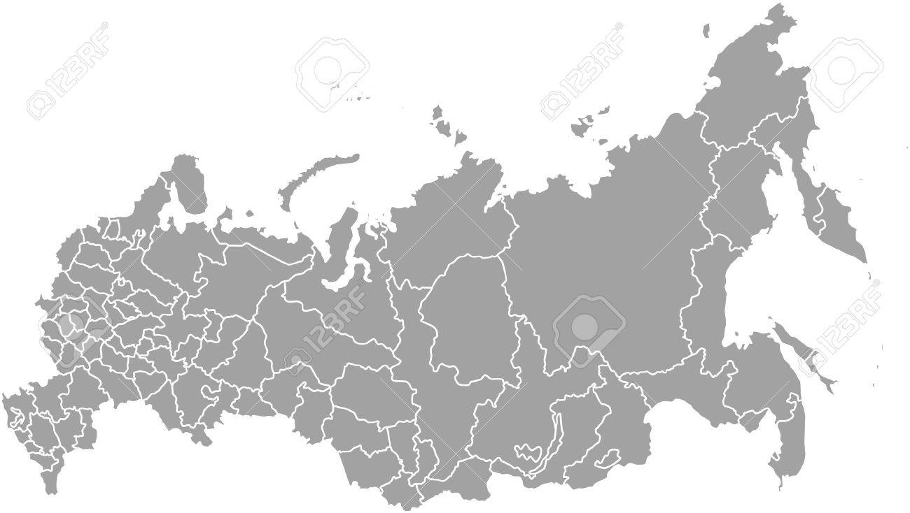 Russia map outline vector with borders of provinces or states - 51018457