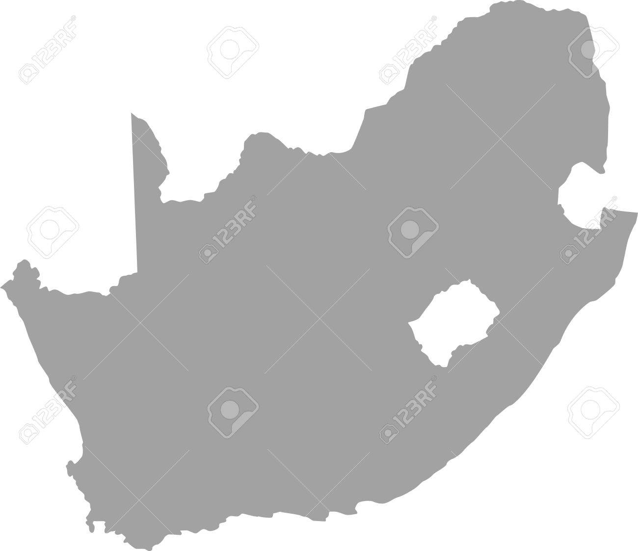 South Africa Map Outline In Gray Color Royalty Free Cliparts