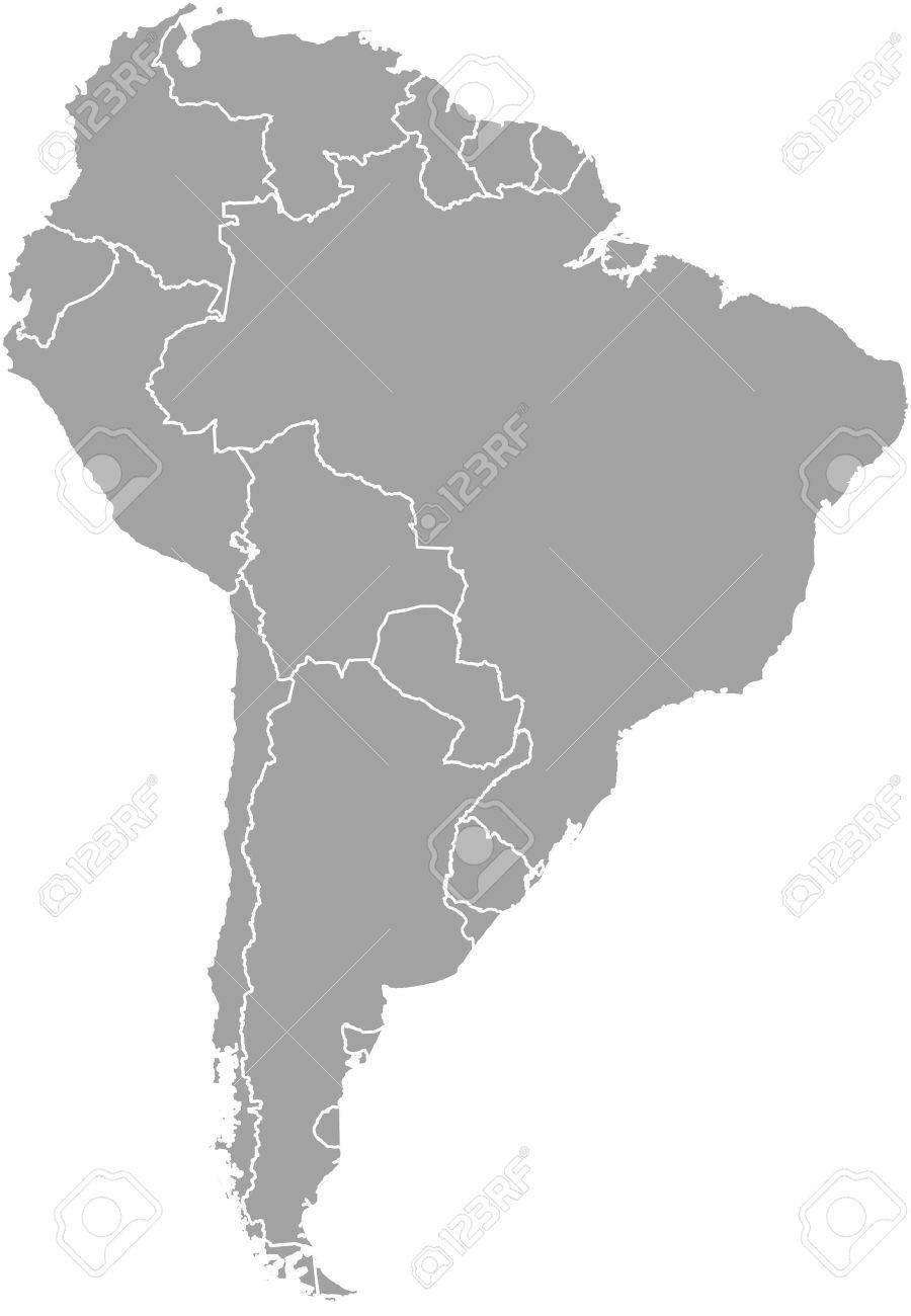 South America Map Outline Vector With Borders Of Provinces Or