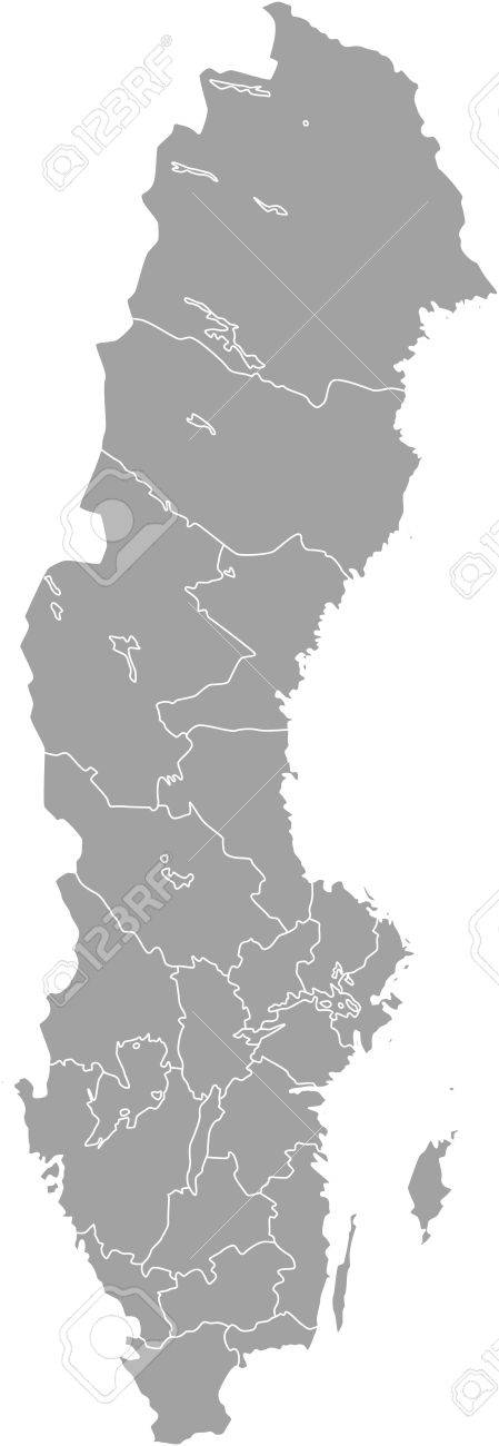 Sweden Map Outline Vector With Borders Of Provinces Or States - Sweden map states