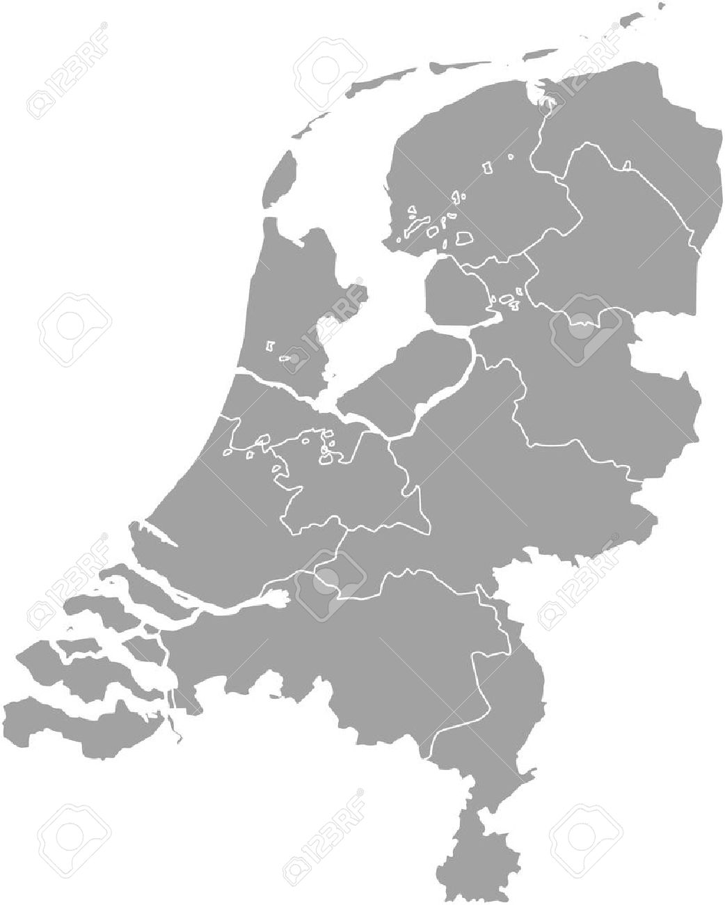 Netherlands map outline vector with borders of provinces or states - 51018511