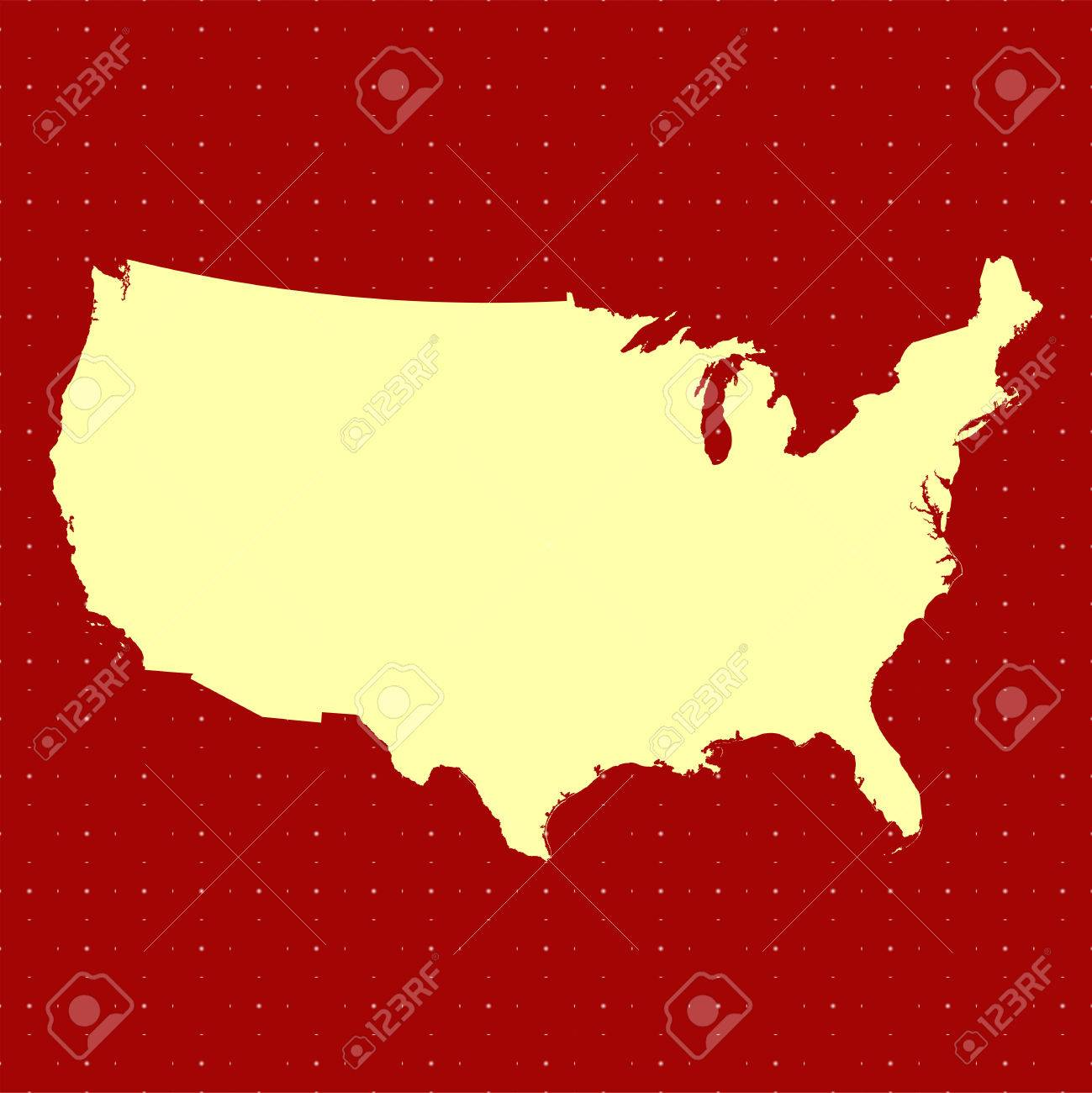 United States Map Outline In Red Color Royalty Free Cliparts ...