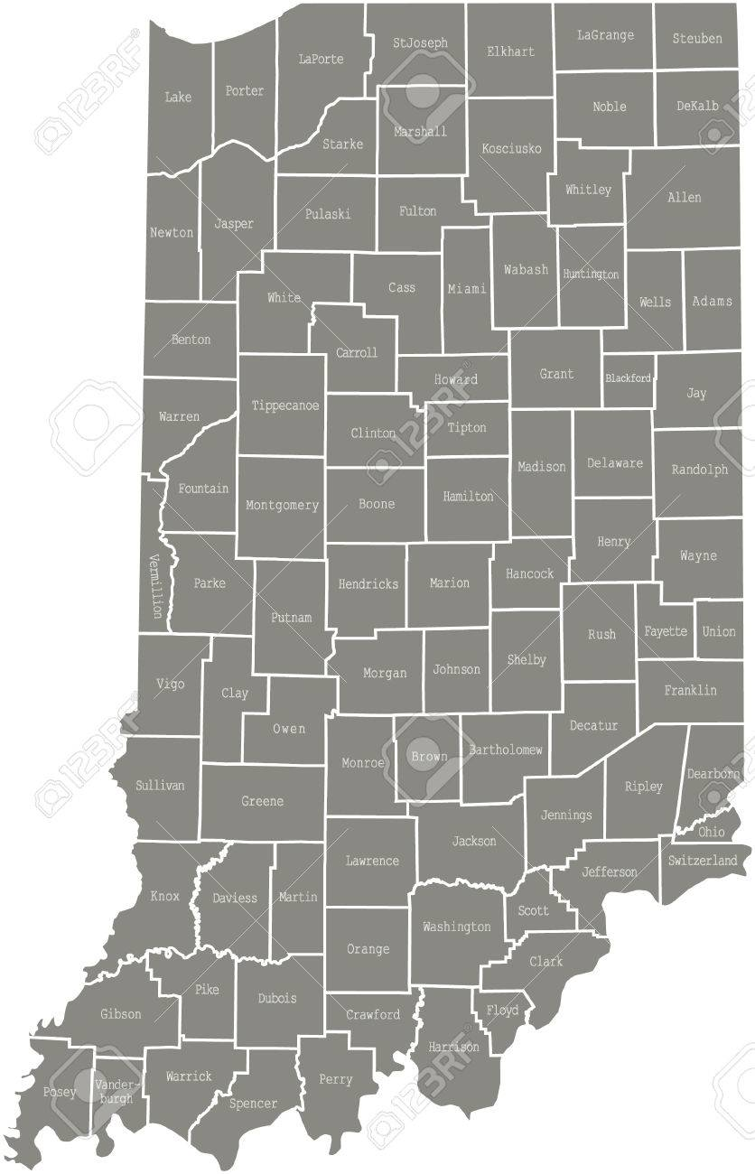 Indiana County Map Vector Outline In Gray Color Royalty Free - Indiana county map