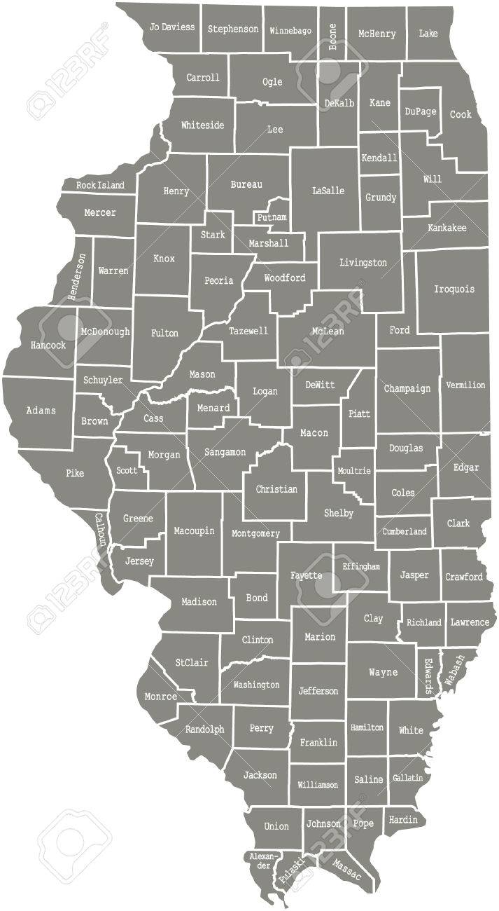 Illinois County Map Vector Outline In Gray Color Royalty Free - Illinois county map
