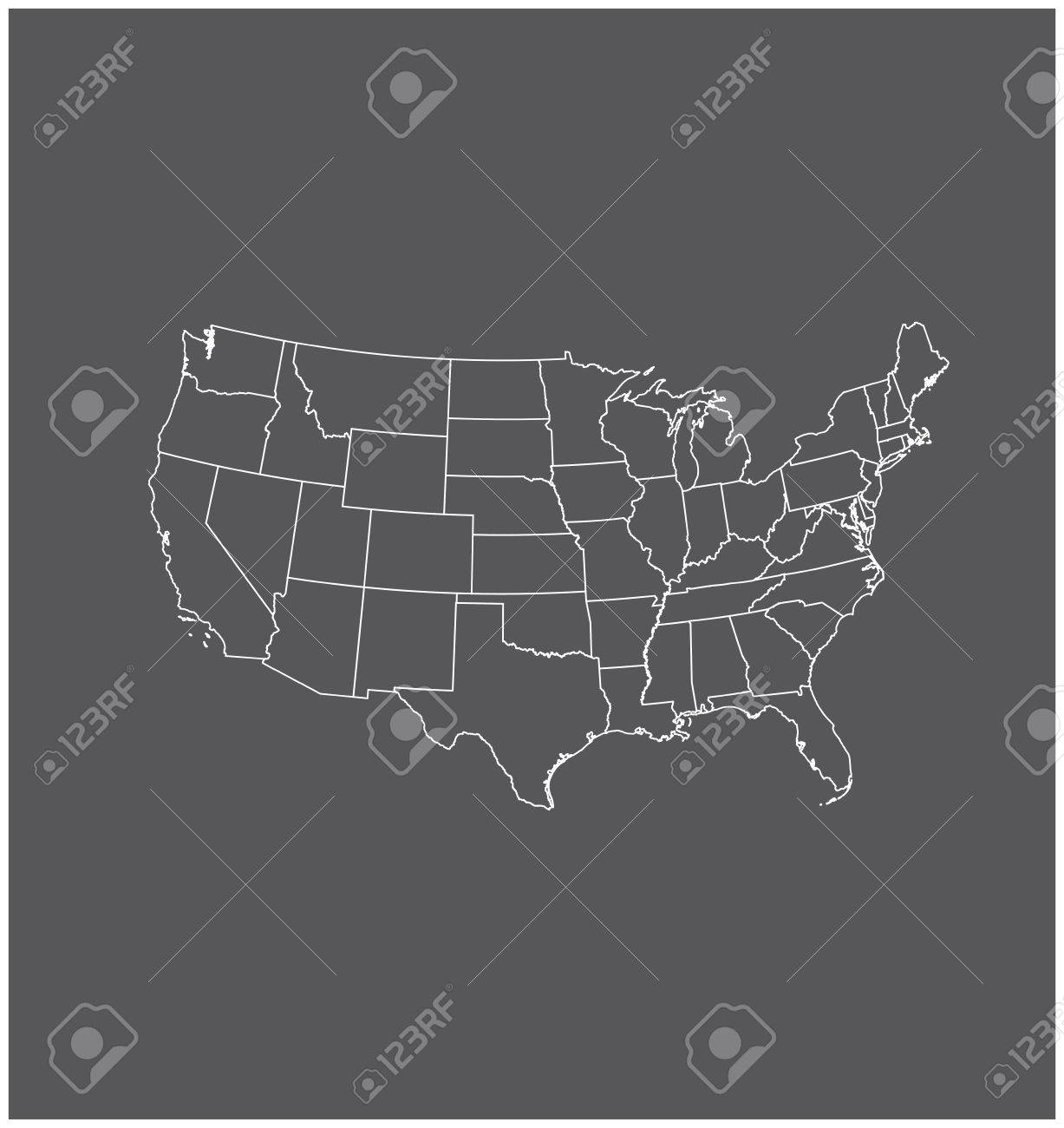 United States Map Outline Vector In Gray Background Royalty Free ...