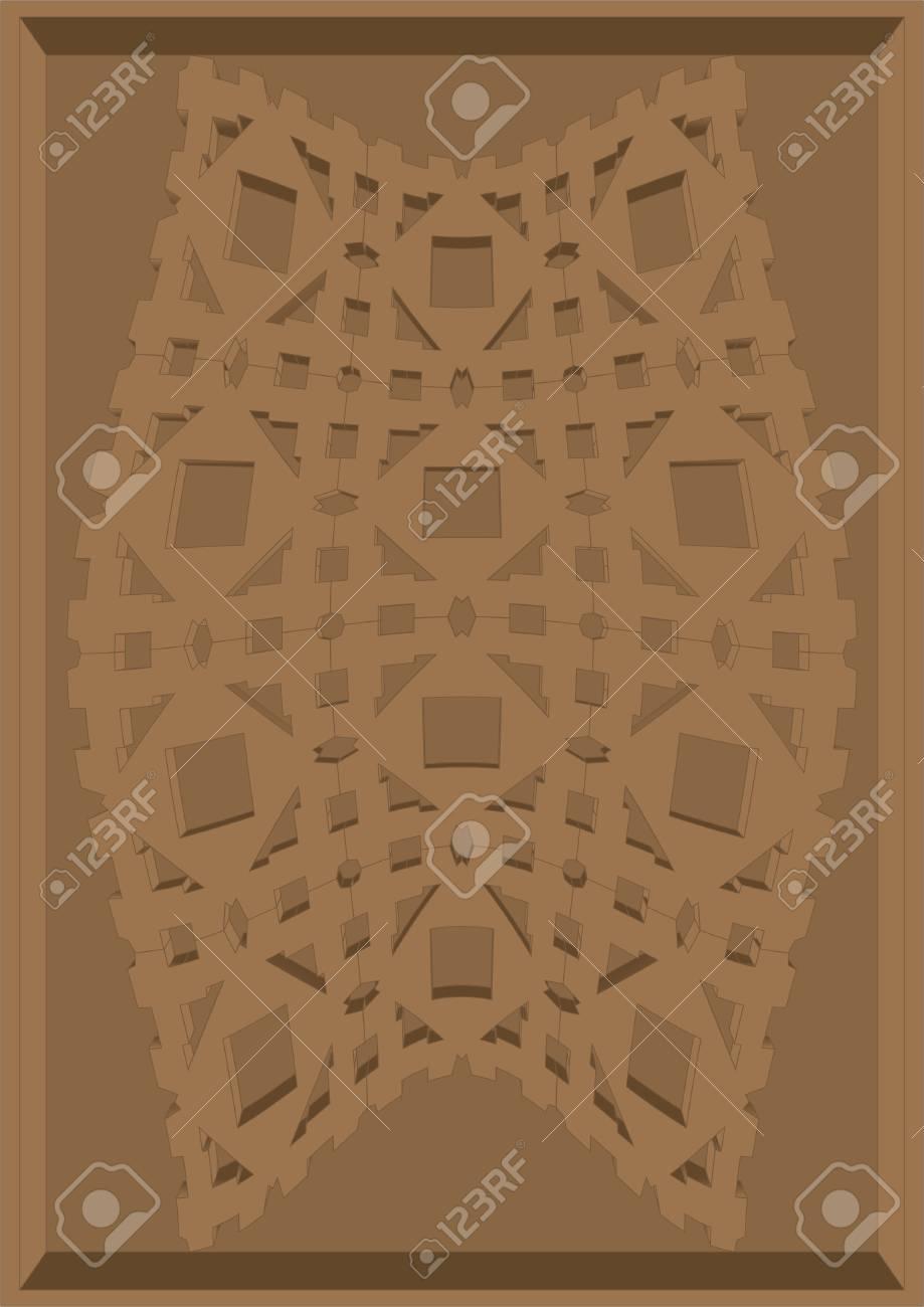 Muster Auf Ein Stück Pappe Im Rahmen Geschnitzt Auf Einem Braunen ...
