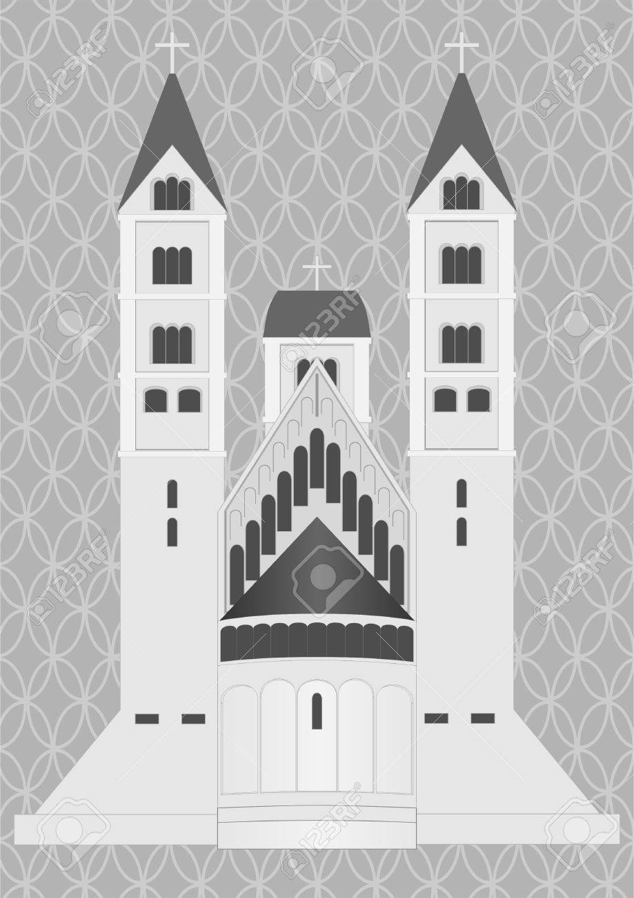 Medieval castle on a gray background with a decorative grille Stock Vector - 18931729