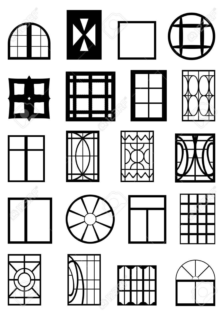 Different types of window frames, black contour on a white background