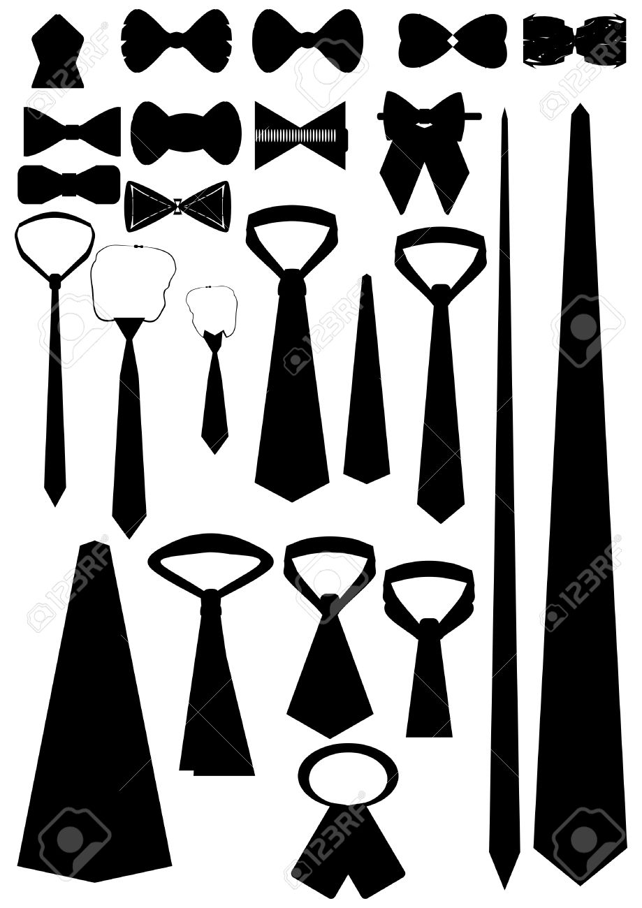 Necktie In Different Shapes And Sizes On A White Background ...
