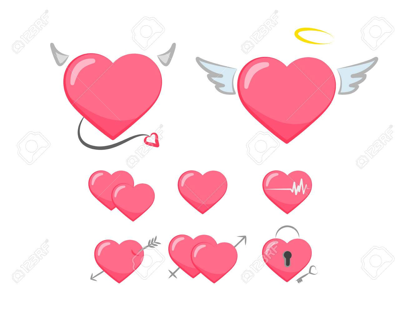 Love Symbol Collection Of Cute Pink Hearts Stickers Royalty Free