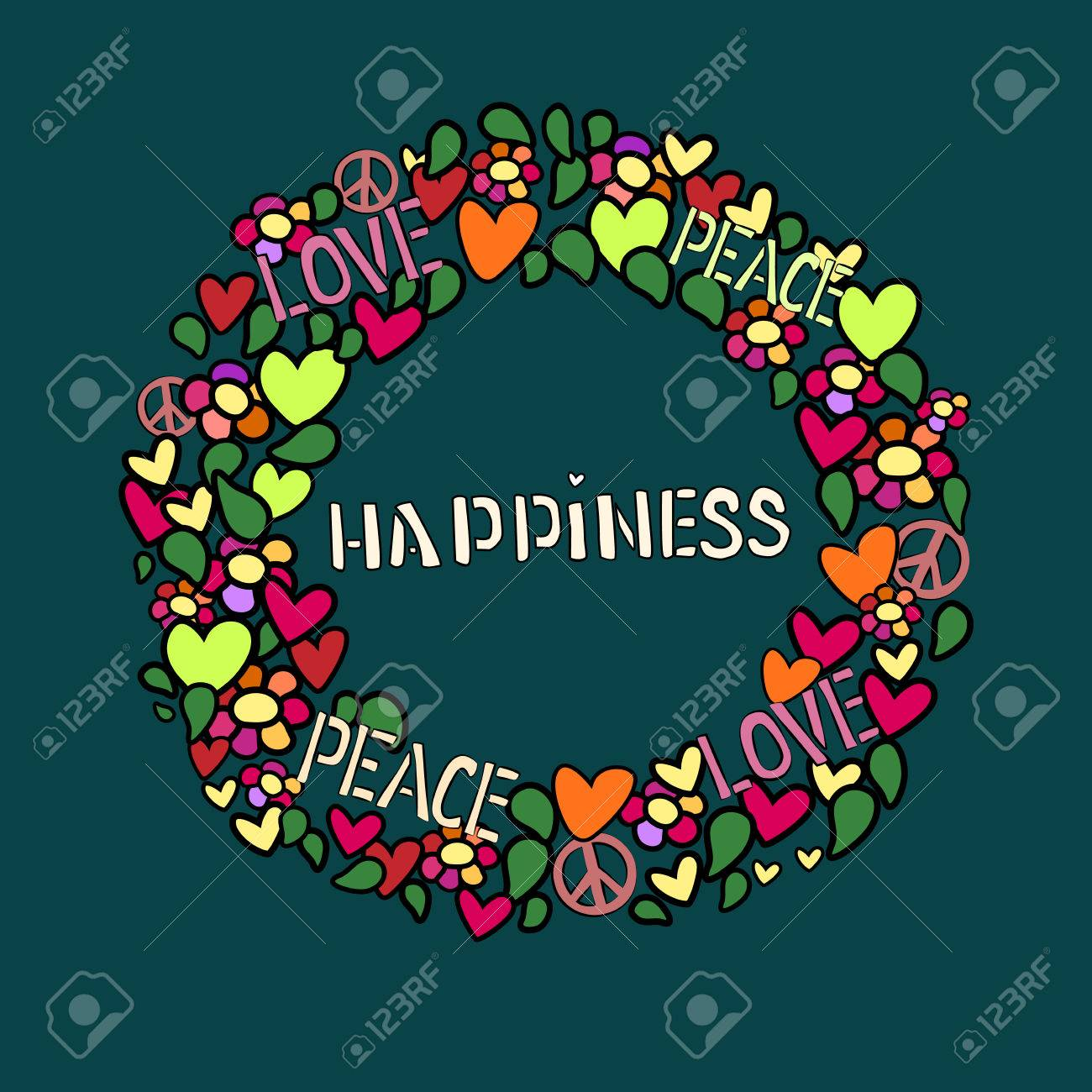 Text happiness in round frame love peace and pacifism symbol text happiness in round frame love peace and pacifism symbol in colorfull collage biocorpaavc Image collections