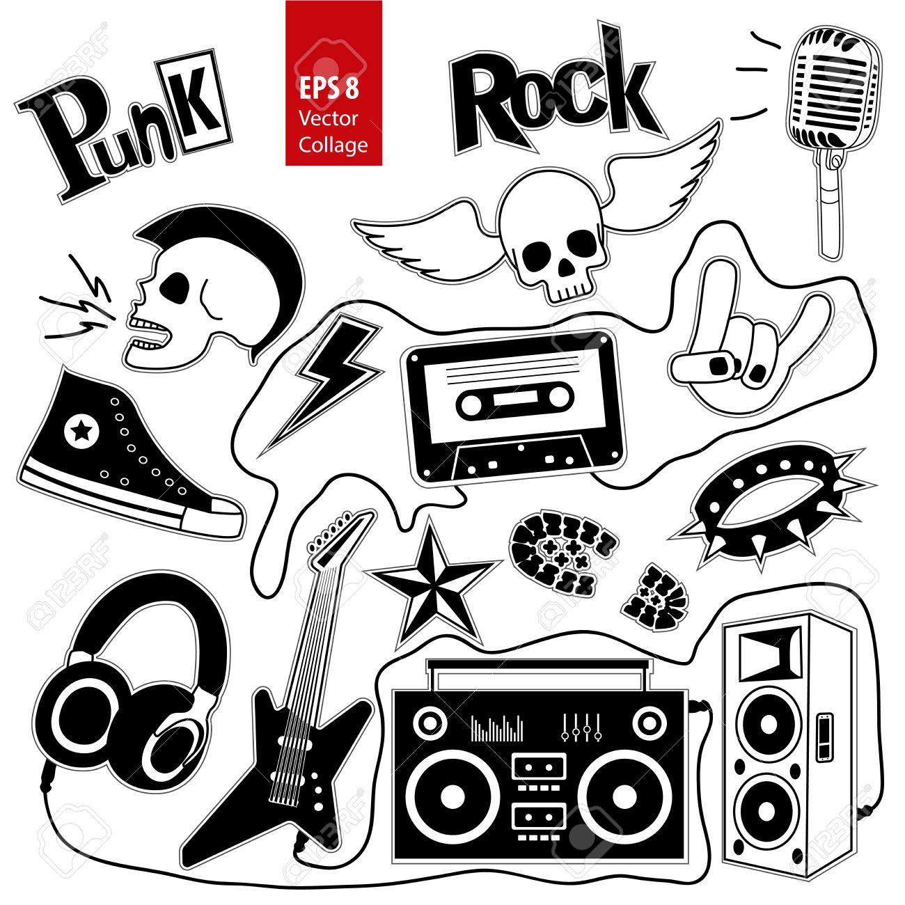 Punk Rock Music Set Isolated On White Background. Design Elements ...