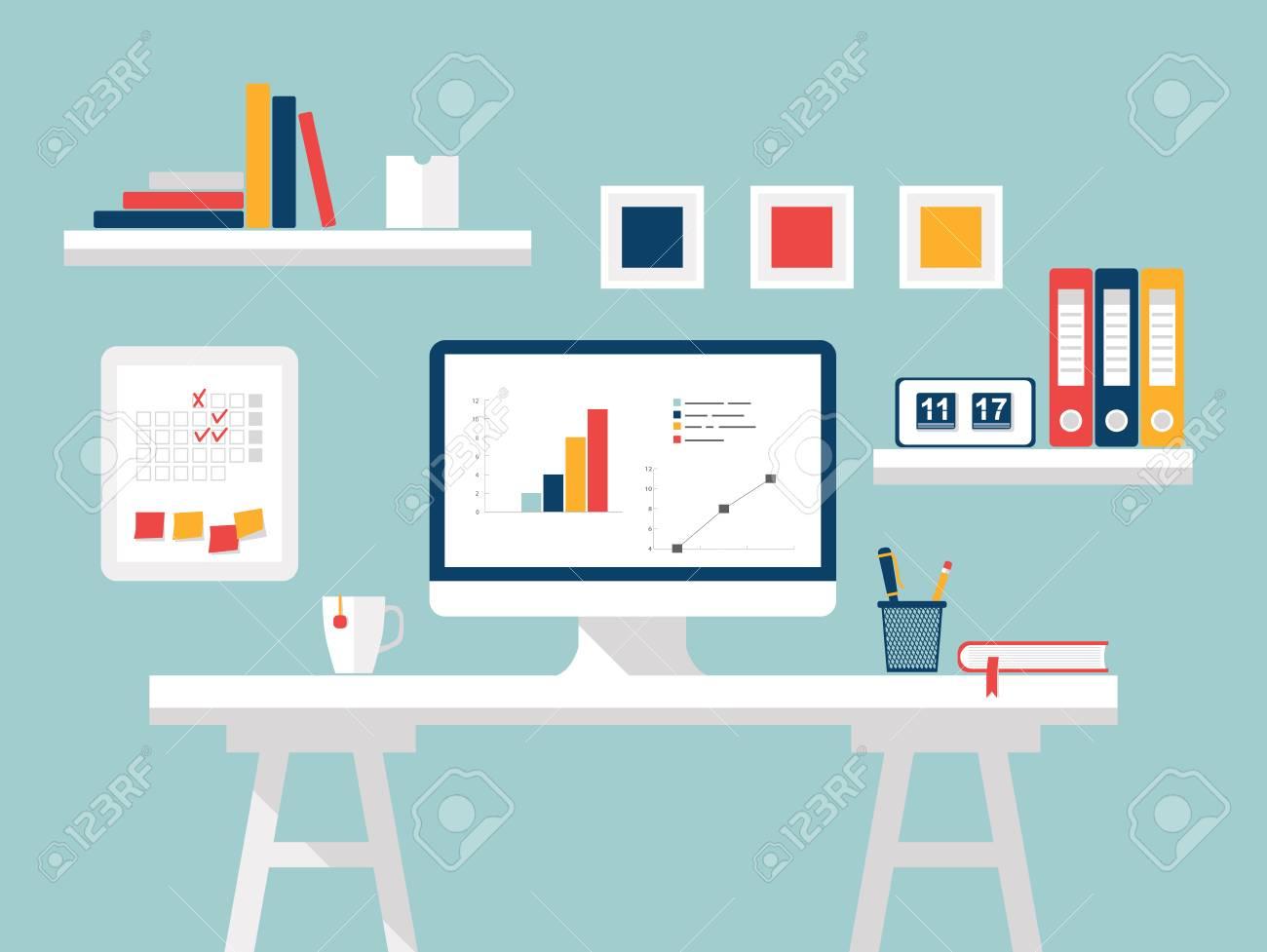 Innenministerium. Möbel Und Accessoires. Flaches Design Der Modernen Home  Office Inter Mit Designer
