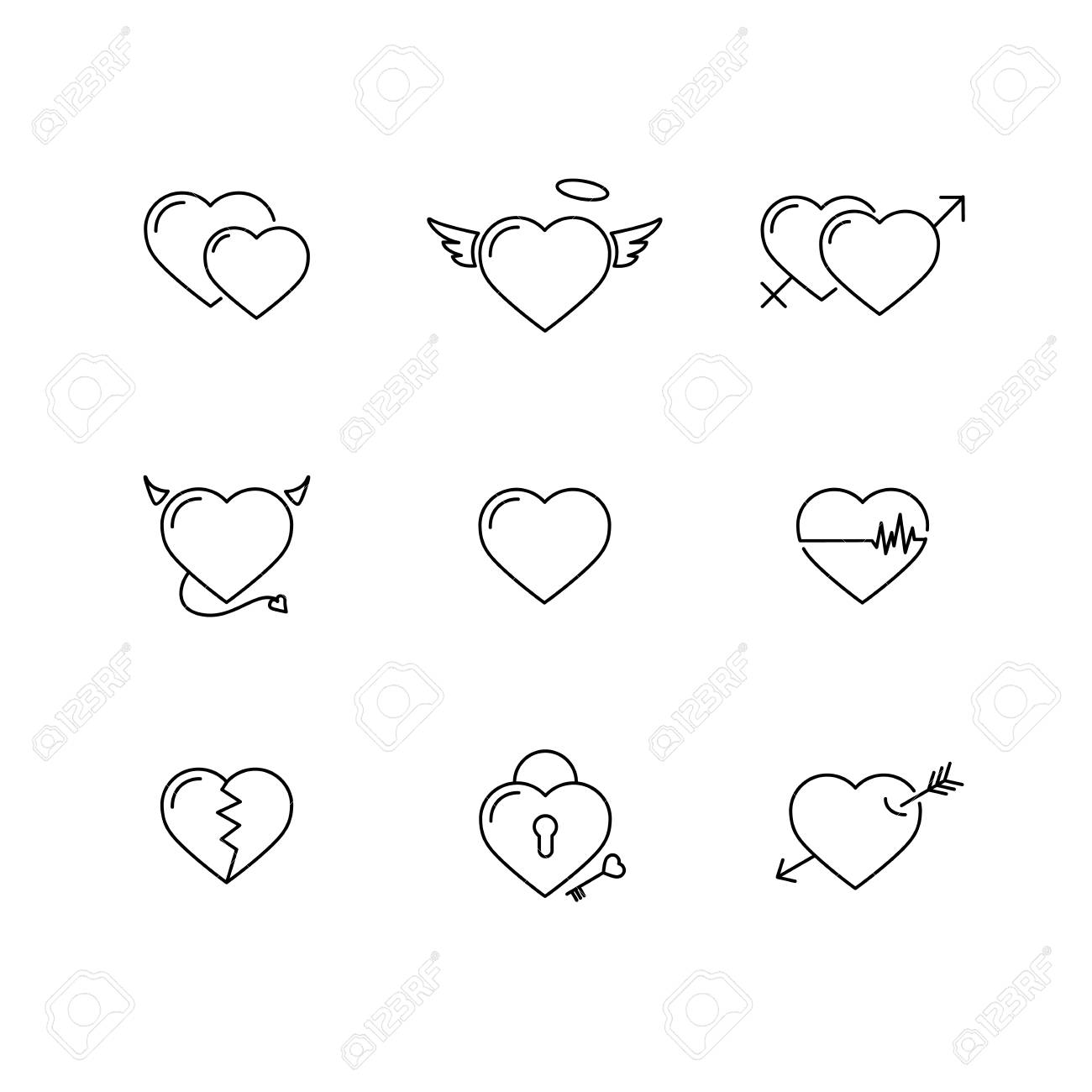 Heart icon vector set thin line outline minimalist cute sign thin line outline minimalist cute sign isolated on white buycottarizona Images