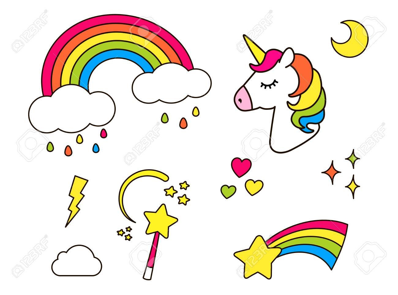 Stickers Set With Unicorn Rainbow Star Cloud Magic Wand