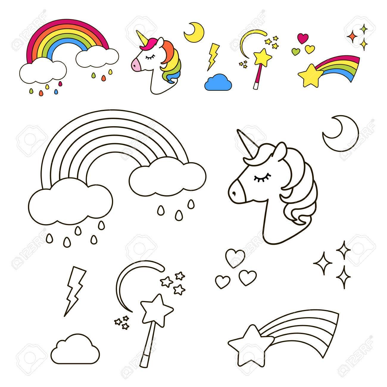 Pegatinas Conjunto Con Unicornio Arco Iris Estrella Nube Varita Mágica Para Niñas Cool Elementos De Decoración Estilo De Historieta Cómica