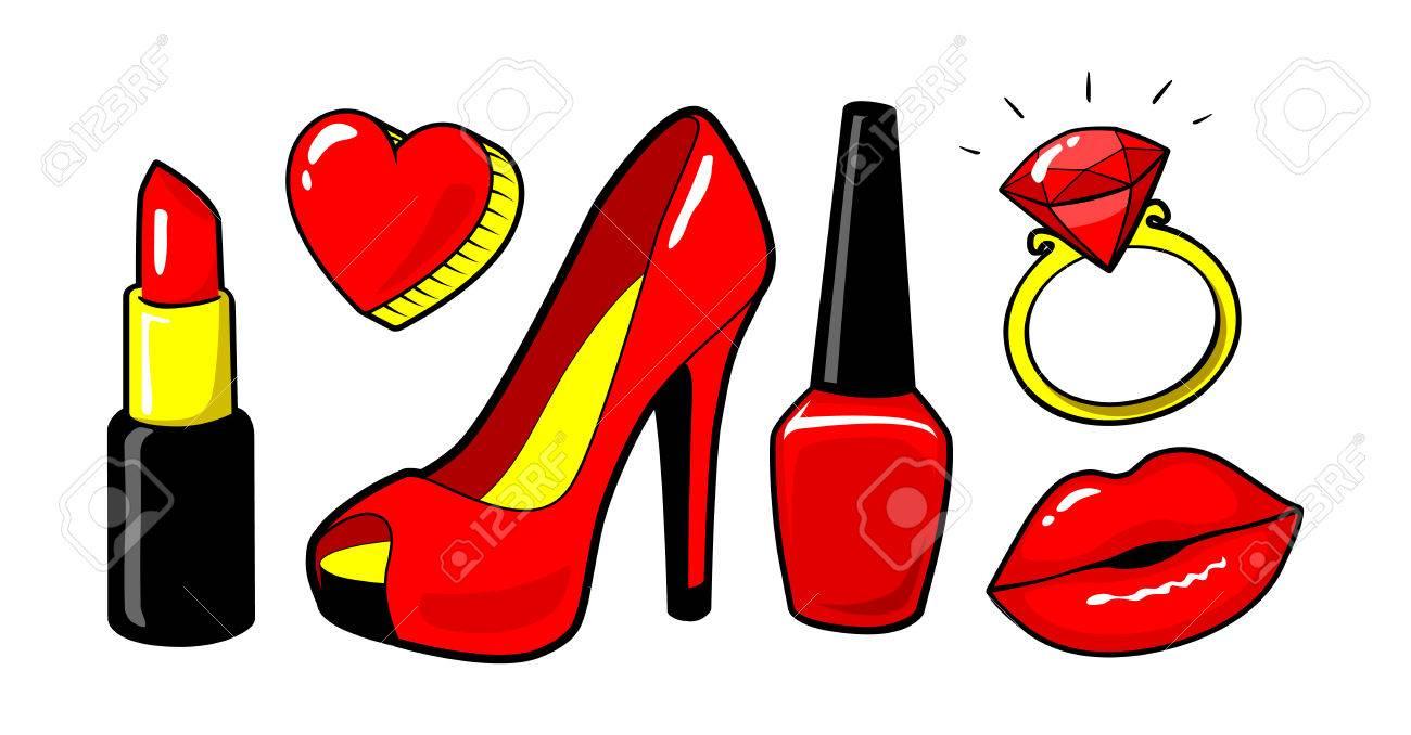 Pour Lèvres RougeVernis À OnglesRouge FemmeMaquillageCool SexyStyle Concept De LèvresCoeurAnneauDiamandChaussure Baiser SVpUMz