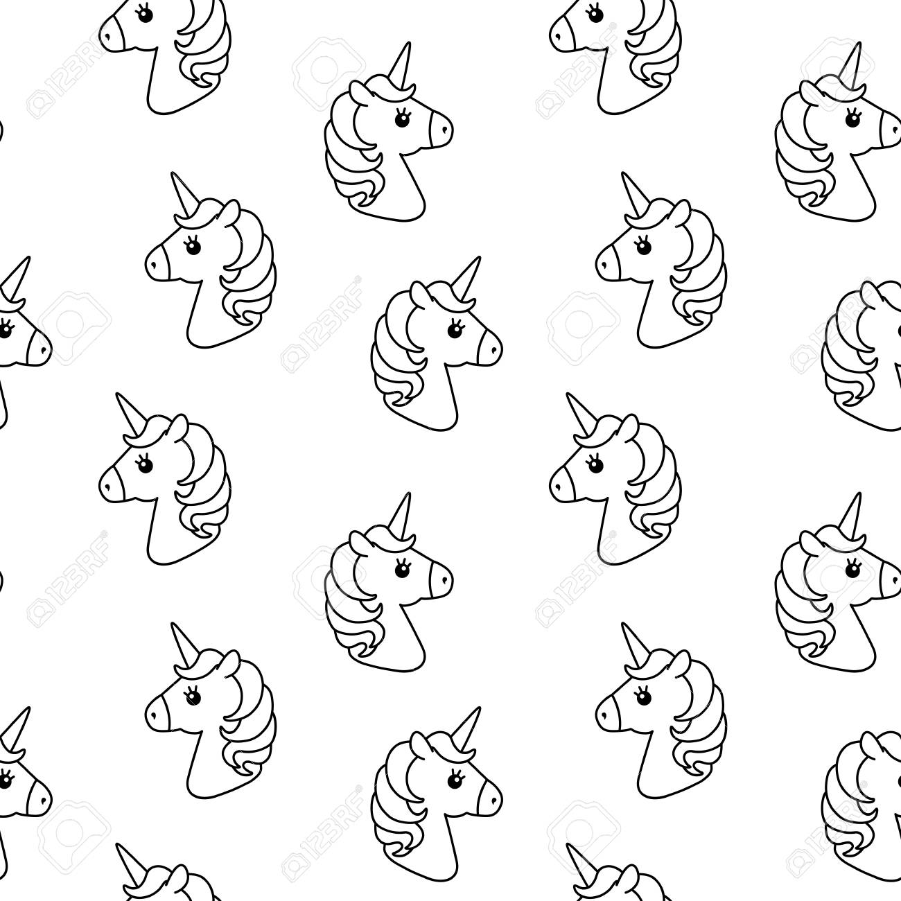 Stock Photo   Unicorn Vector Seamless Pattern. Horse Head. Colored Book.  Black And White Outline Icon Isolated. Cute Magic Cartoon Fantasy Animal.