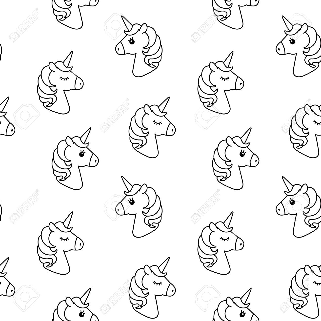 Unicorn Vector Seamless Pattern Horse Head Sleep Black And Stock Photo Picture And Royalty Free Image Image 88907320
