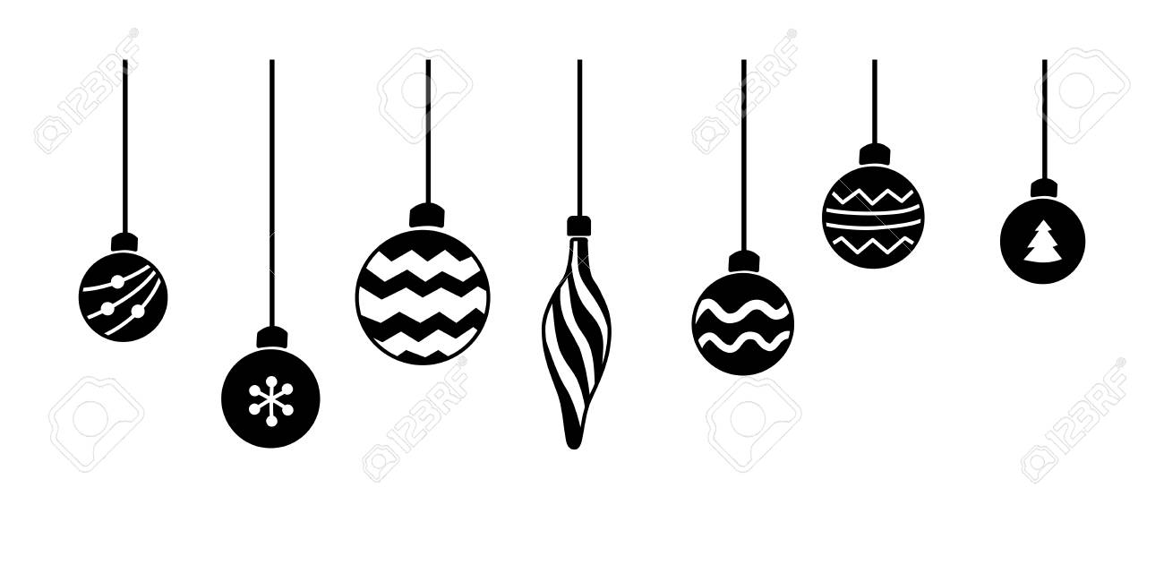 Hanging Christmas Ornaments Silhouette.Stock Illustration