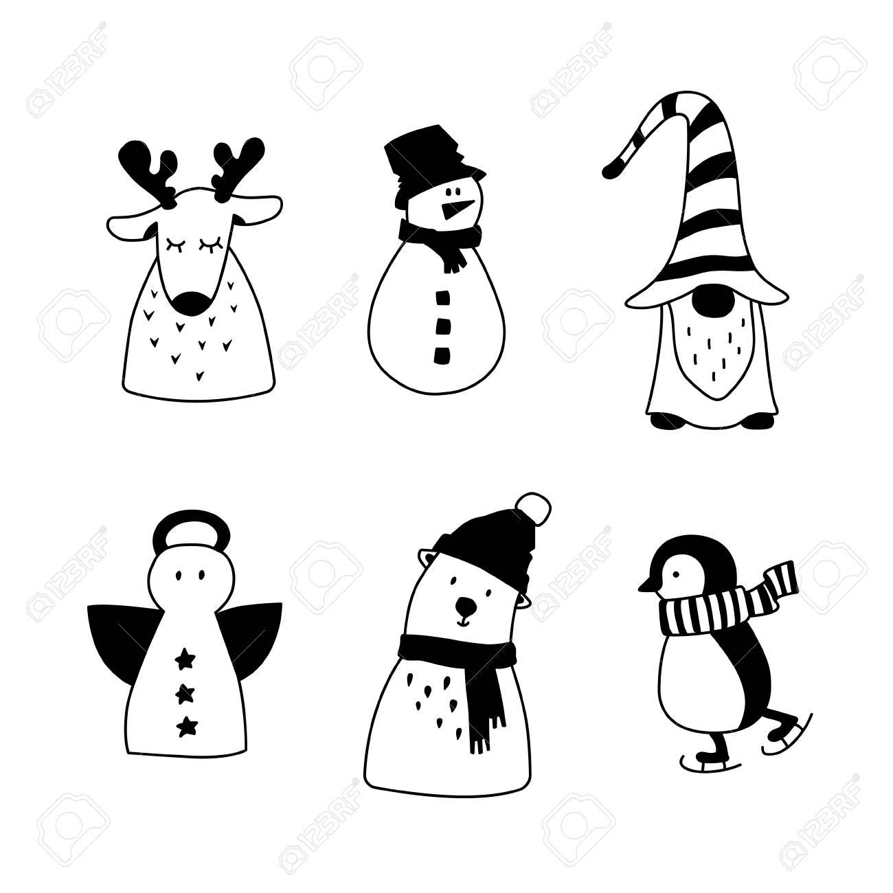 Set de décoration de Noël. Silhouette hiver mignon dessin animé isolé sur  blanc. Éléments dessinés à la main. Design nordique scandinave pour carte  de