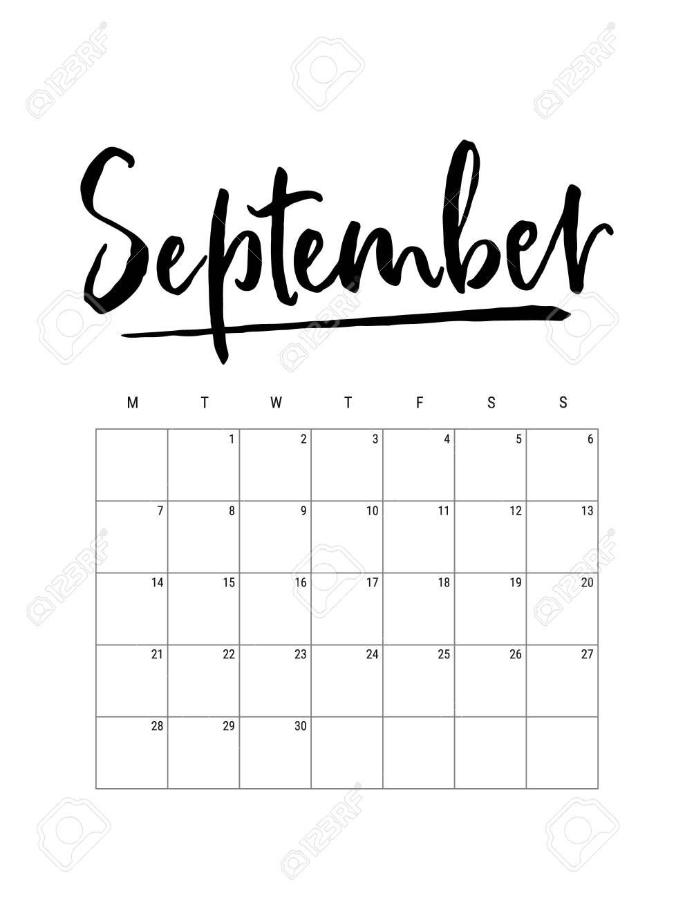 2020 September Month Wall Calendar Desk Planner Weeks Start Royalty Free Cliparts Vectors And Stock Illustration Image 134252769