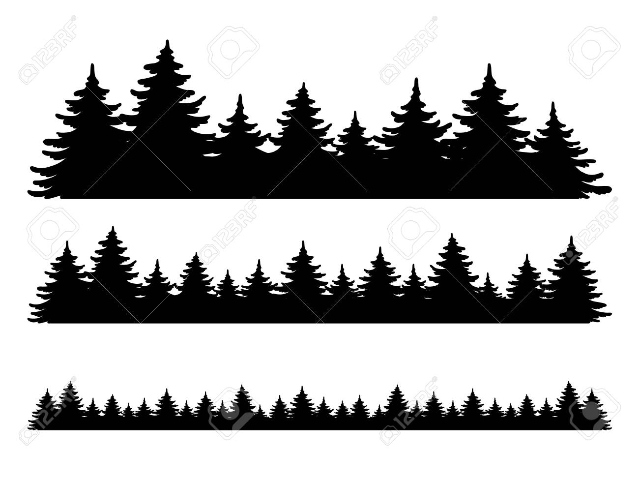 Forest vector shape set. Pine tree landscape collection, panorama. Hand drawn stylized black illustrations isolated on white background. Element for design christmas banner, poster - 134960281