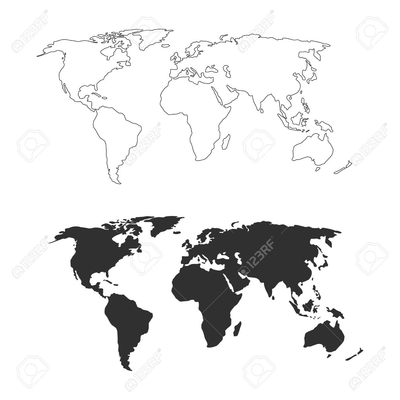 World Map Earth Monochrome Black White Map Template For Web Royalty Free Cliparts Vectors And Stock Illustration Image 136442936