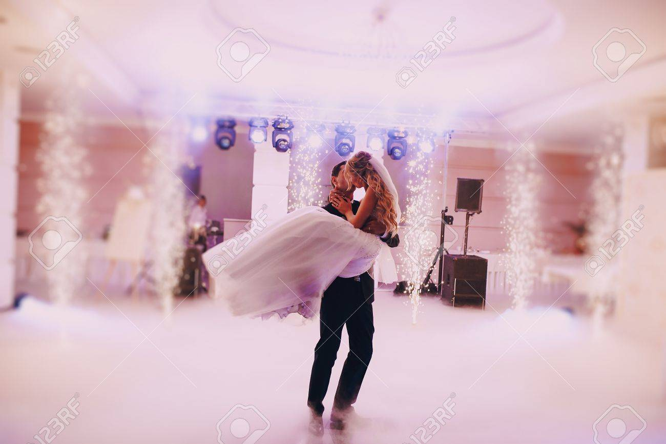 brides wedding party in the elegant restaurant with a wonderful light and atmosphere - 43987466