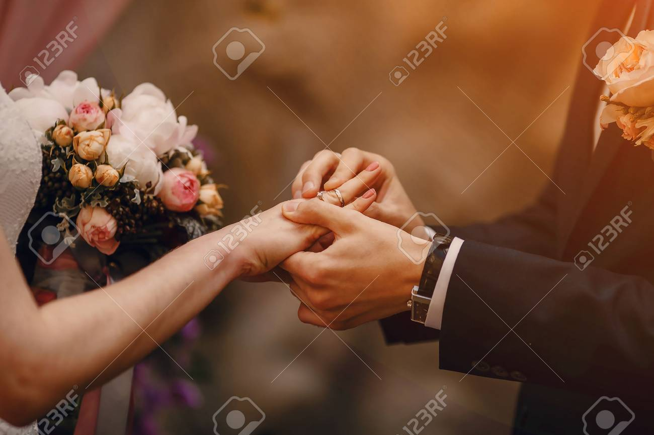 lovely blond summer wedding couple in sunny weather - 46514440