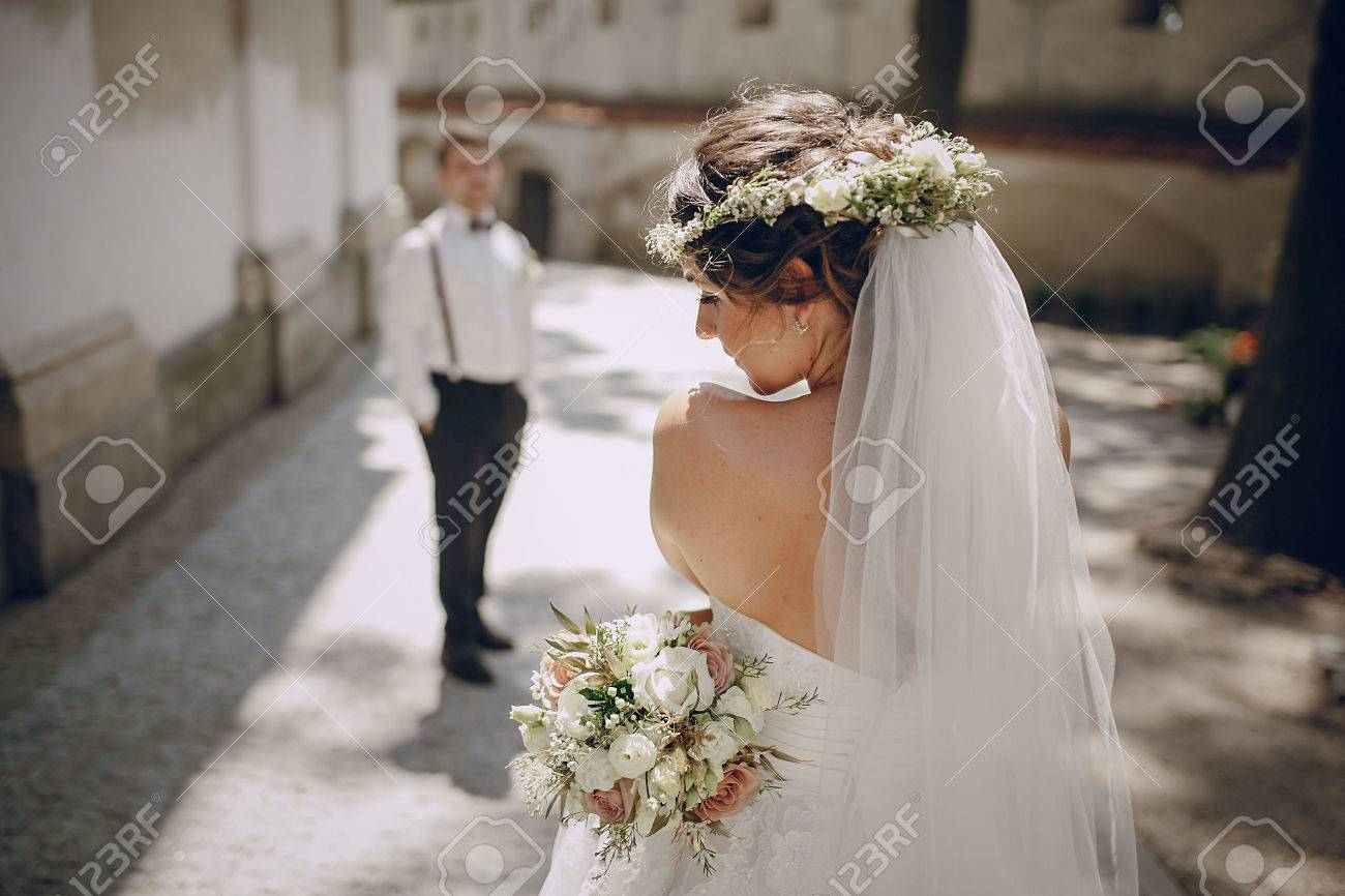 lovely wedding couple oditi a crown of butterflies and suspenders - 55225826