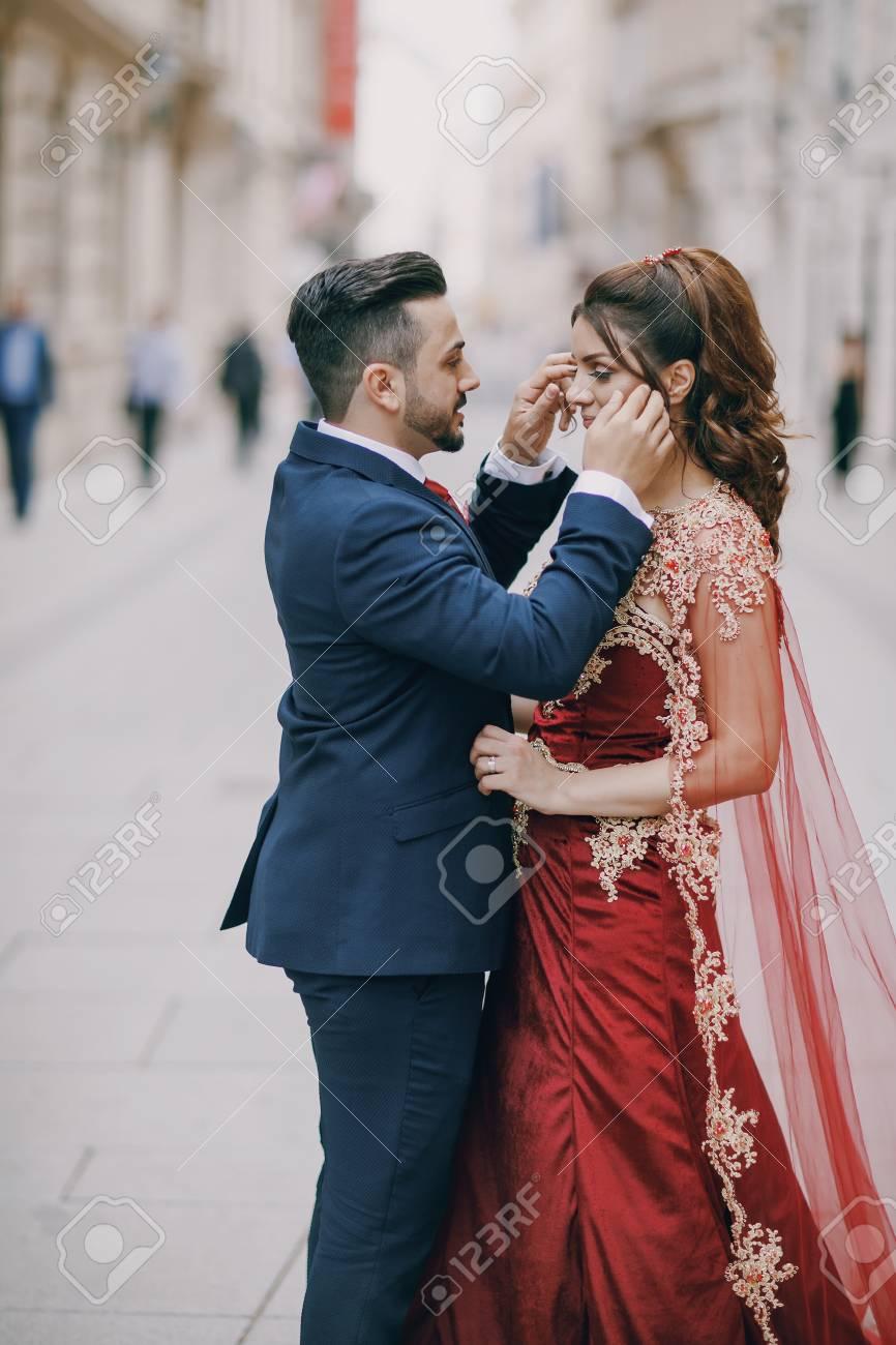 Turkish Couple In Wedding Dress Stock