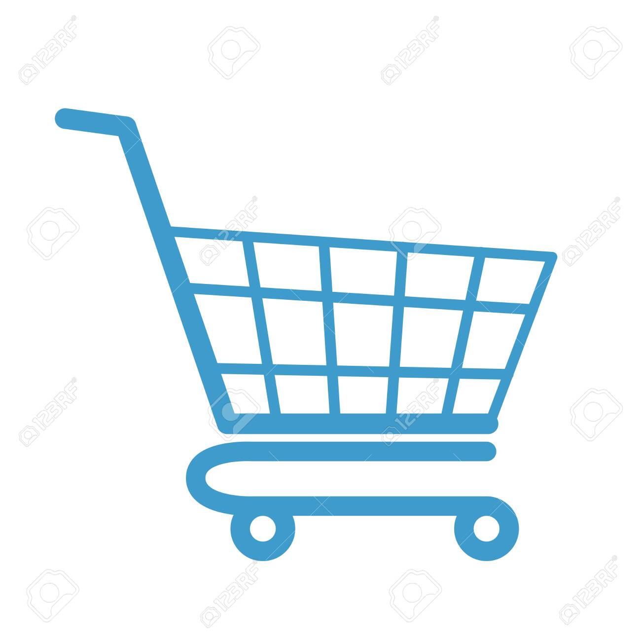 Empty color shopping cart flat modern design. Colored vector icon isolated on white background. Web store object design. Simple shop cart symbol. purchases colorful market element - 134790165