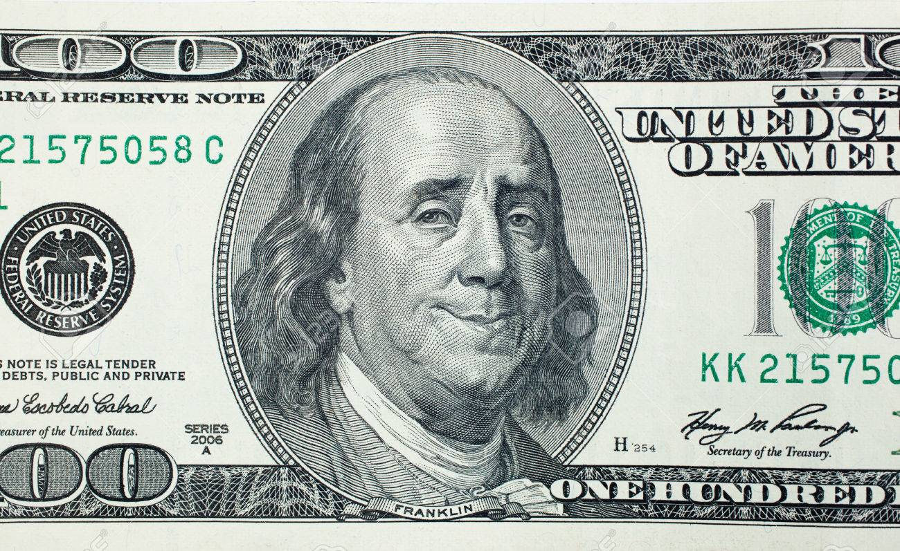 Happy President Benjamin Franklin On 100 US Dollar Bill Stock Photo ...