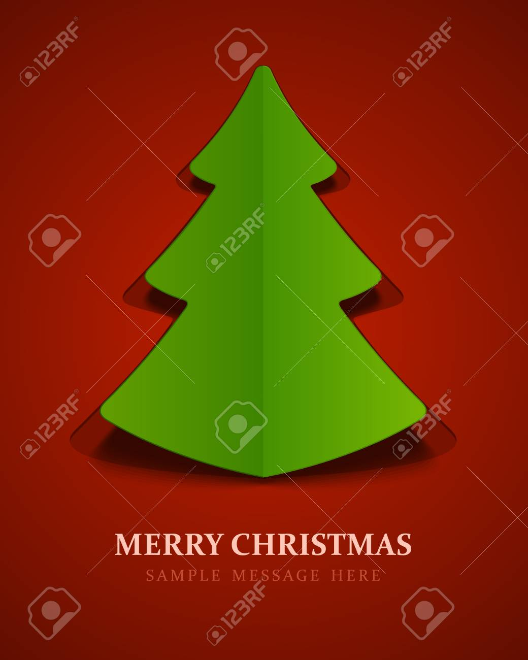 Christmas tree from cut paper background Stock Vector - 15819413