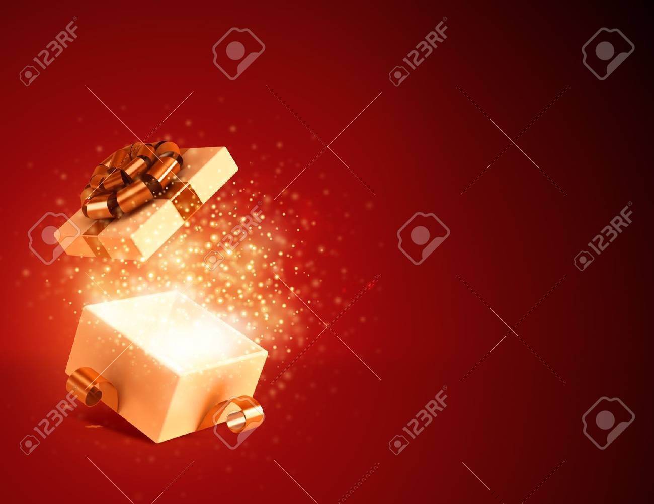 Gift box open and fireworks background Stock Photo - 15936439