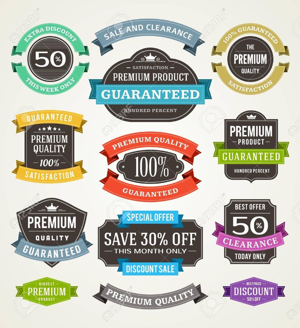 vintage sale labels and ribbons set design elements - 20384856