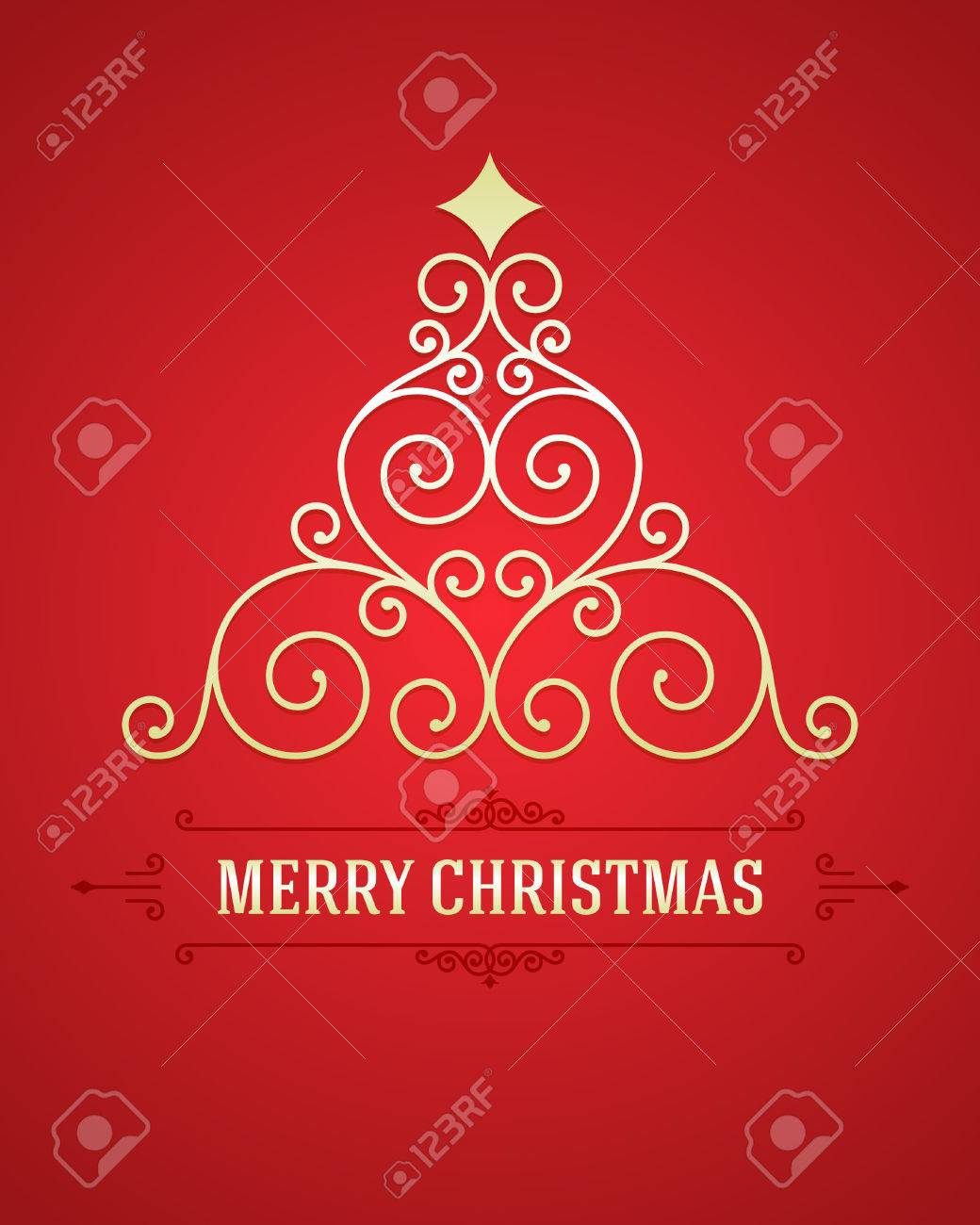 Christmas tree from flourishes calligraphic background Stock Vector - 22524746